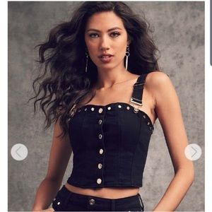 NWT GUESS STUDDED BLACK DENIM OVERALL CROP TOP 🖤
